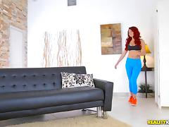 Curly-haired Brooke Beretta has her pussy taken doggystyle
