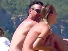 incredible brunettes couple Ibiza nudist topless