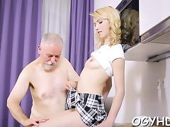 Alluring young chick takes old wicked dick in her mouth