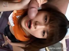 Japanese girl giving blowjob on stairs
