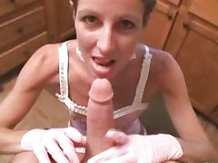 Hot maid likes to suck on a nice big cock