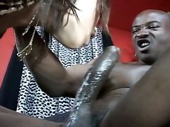 Black cock ramming shaved ebony pussy