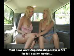 Stunning superb blonde lesbian girls undressing and kissing