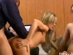 Two petite blonde and brunette babes enjoying group sex