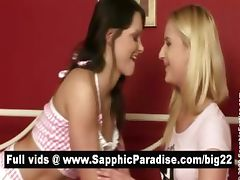 Blonde and brunette lesbians kissing and having lesbian love