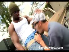 Sexy white gay dude sucks black thugs thick cock