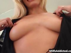 Incredible blonde MILF blows hard dick