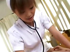 Hot japanese nurse slut gives handjob