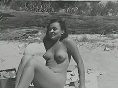 Blonde Sunbathing Hairy Naturist Girl 1950