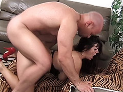 Mature Bitch with a Pleasant Hairy Beaver Serves Fucking and Sucking for a Bunch of Men