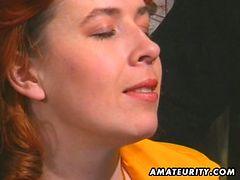 Redhead amateur milf fucked in vintage threesome