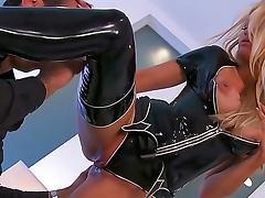 Black latex on pornstar Jessica Drake