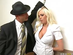 Hard Cock Fucks Big Breasted Blodne Britney Amber in the Office