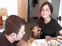 Drunk Russian Brunette Gets Fucked and Covered In Thick