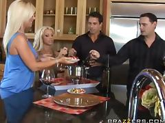 Hardcore Kitchen Foursome With the Horny Babes Ahyran Astyn And Tanya James