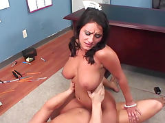 Pigtailed collage babe Charley Chase sucking cock