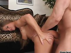 Peter North fucks Rita Faltoyano and covers her with his juice