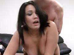 Busty hot chick in porn casting