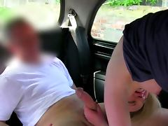 Public oral for blonde euro babe on the back seat