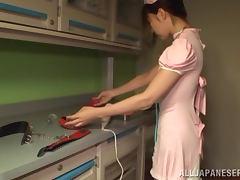 Blindfolded Japanese slut gets her cunt toyed indoors