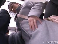 Japanese cutie gets used in the public bus