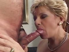 Grandma's filthy fun with two cocks