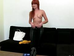 Audition casting with ginger masturbating