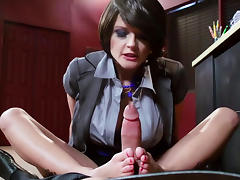 Short-haired babe is giving a blowjob