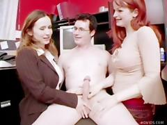 boss gets naked and jerked by his employees