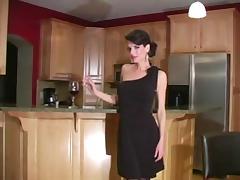 Skinny milf in black dress. JOI