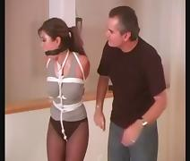 Asian Bondage Queen Akira Lane Tied Up and Ballgagged