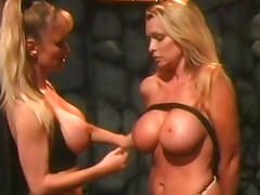 Busty slave gets tied up by her mistress