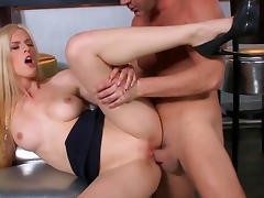 Long haired blonde bombshell Mira Sunset fucked in the ass