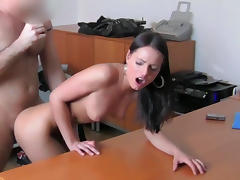 Carie is sucking horny dick of agent