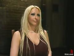Tied and Bounded Busty Blonde Candy Manson Throat and Pussy Fucked