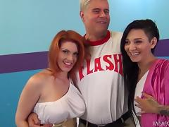 Two awesome hotties share a lucky man's schlong indoors