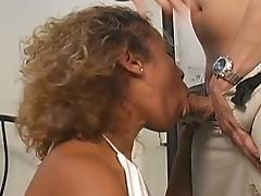 Curly ebony slut is a great cock rider