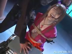 Japanese skank Yui Hatano gets humiliated and fucked in the forest