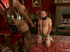 Nyomi Banxxx the ebony mistress tortures guy's balls and dick