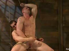 Tied up and blindfolded Phenix Saint gets his ass destroyed by a man