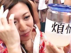 Japanese cutie is swallowing sperm from bottle