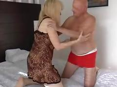 Older blond is drilled very coarse by a large corpulent hammer