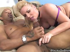 Big-assed blonde milf Flower Tucci sucks and rides a big black dick