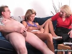 Skinny babe gets fucked in hard threesome