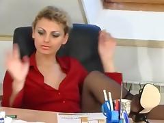 Pantyhosed horny boss