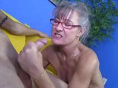 Granny is getting some sperm on her face