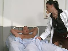 Nice Doctor Gives Her Patient a Handjob and Rides Cowgirl Style