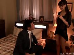 Pretty Chibana Meisa gets fucked by her hubby in a bedroom