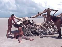 Brazilian beach threesome.