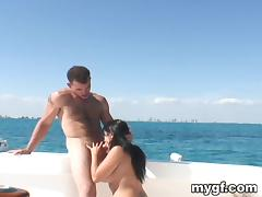 Juicy Brunette Sucks A Big Cock Outdoors In A Yacht
